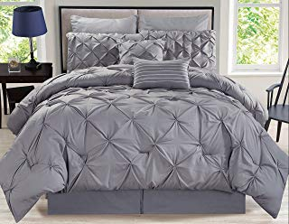 KingLinen 12 Piece Rochelle Pinched Pleat Gray Bed in a Bag w/500TC Cotton Sheet Set Queen