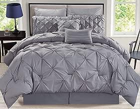 KingLinen 8 Piece Rochelle Pinched Pleat Gray Comforter Set Queen