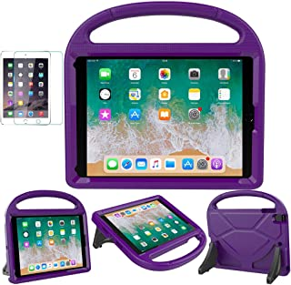 iPad 9.7 2018/2017 / Air 1/2 / Pro 9.7 Case for Kids - SUPLIK Duable Shockproof Protective Handle Bumper Stand Cover with Screen Protector for iPad 9.7 inch 5th/6th Generation, Purple