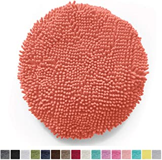 Gorilla Grip Original Shag Chenille Bath Rug Toilet Lid Cover, 19.5 Inchx18.5 Inch Large Size, Machine Washable, Ultra Soft Plush Fabric Covers, Fits Most Size Toilet Lids for Bathroom, Coral