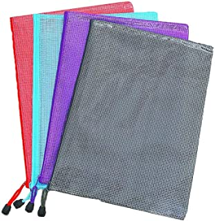 Zip File Folders Paper Document Bags,A4 Zip File Bags Lock Document,File Folder Plastic File Pockets,with Durable Thickened Soft Material (A4 Size Pack of 4)