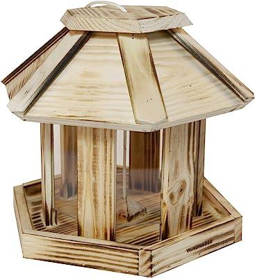 Vogelhaus zum aufh/ängen im Garten oder auf dem Balkon unbehandelt wildtier herz artgerecht Vogelfutterhaus XXL aus Natur-Holz f/ür Gartenv/ögel wetterfest