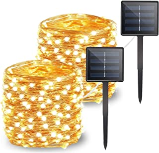 Yuwinie Solar String lights outdoor,2 Pack Each 66ft 200Led Solar Fairy Lights Waterproof Decoration Copper Wire with 8 Mo...