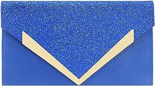 ZIUMUDY PU Leather Glitter Envelope Evening Wedding Clutch Party Handbag Purse Bag