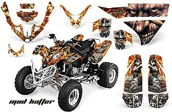 AMRRACING Polaris Predator 500 2003-2007 Full Custom ATV Graphics Decal Kit - Mad Hatter Silver Orange