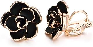 Yoursfs Black Clip Earrings for Women Fashion Rose Flower Hypoallergenic Non Pierced Earrings