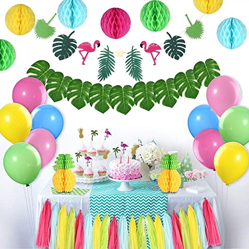 FEPITO Tropical Pink Flamingo Luau Hawaiian Party Decorations Kit Leaves Banner Honeycomb Pineapple Ball