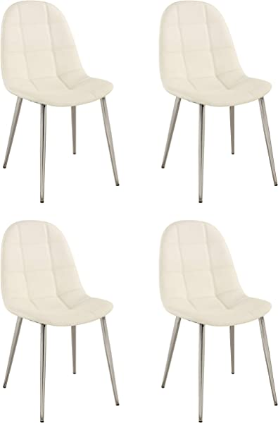 Milan Dominique White Upholstered Back Side Chair Set Of 4