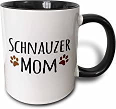 Saxton (mug_154188_4) Schnauzer Dog Mom - Doggie by breed - muddy brown paw prints - doggy lover - proud pet owner mama - Two Tone Black Mug, 11oz