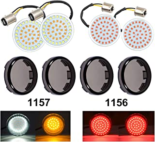 PBYMT Bullet Style 1157 Front 1156 Rear LED Turn Signal Lights Kit SMD Bulb Smoke Lens Covers for Harley Davidson Dyna Softail Touring Street Glide Road King Electra Glide 1986-2020