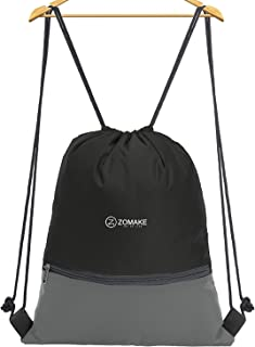 ZOMAKE Drawstring Backpack Large Strings bagsWater Repellent Gymbag Sackpack Tote Cinch Bag for Ourdoor Sport Yoga