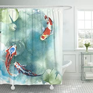 Emvency Shower Curtain Colorful Carp Fish Japanese Symbol in The Pond Watercolor Painting Orange Koi Asian Waterproof Polyester Fabric 72 x 72 inches Set with Hooks