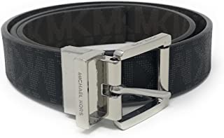 Michael Kors Logo Reversible Belt With Silver Buckle,Black/Brown,Large