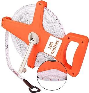 DaiWeier 100m / 328FT Mètre d'arpenteur ouvert, Ruban en Fibre de verre, Mètre ruban double face, Fibreglass Open Reel Tap...