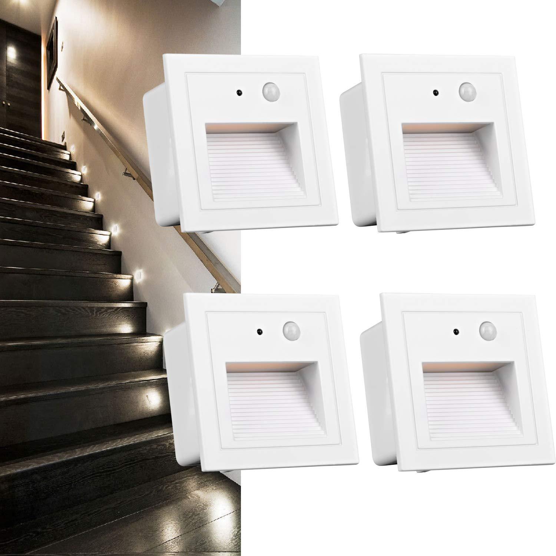 Arote 4 pcs LED Aplique empotrado pared 230 V 3 W Aplique de paso (para exteriores, con sensor de movimiento, cuadrada, para escaleras, aluminio), Blanco: Amazon.es: Iluminación