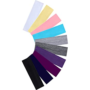 Headbands For Women Cotton Stretch Headbands Elastic Yoga Hairband for Teens Girls Women Adults, Assorted Colors, 10 Pieces (Dark and Light Colors)