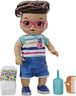 Baby Alive Step 'N Giggle Baby Brown Hair Boy Doll with Light-Up Shoes, Responds with 25+ Sounds & Phrases, Drinks & Wets, Toy for Kids Ages 3 Years Old & Up