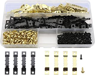 Sawtooth Picture Frame Hanging Hangers Double Hole with Screws for Home Decoration Creative Picture Frame Hanging-120 Pcs (Golden/Black)