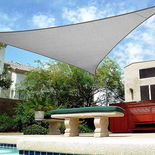 Shade&Beyond 16'x16'x16' Sun Shade Sail Triangle Canopy Light Grey Outdoor UV Sunshade Sail for Patio Yard Backyard G...