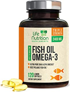 Fish Oil 2400 mg, Triple Strength Omega-3 Fish Oil Supplement with Epa and Dha, Made in USA, Support Heart Health, Natural...
