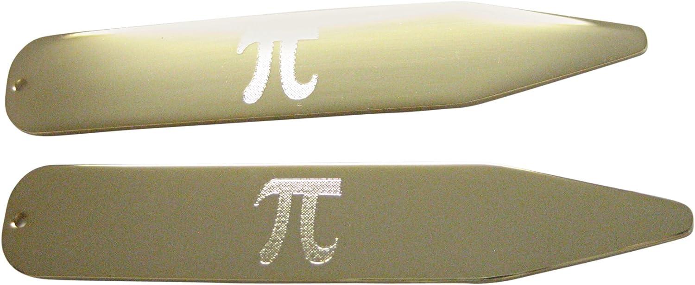 Kiola Designs Gold Toned Etched Mathematical Pi Symbol Collar Stays