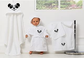 5 Parca Bebek Bornoz Seti, Kapsonlu Havlu, Havlu, Bornoz, Kese, Önlük Panda