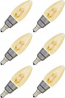 (6 Pack) Sylvania 79539 Vintage LED Light Bulb 40W Equivalent B10 Blunt Flame Candle