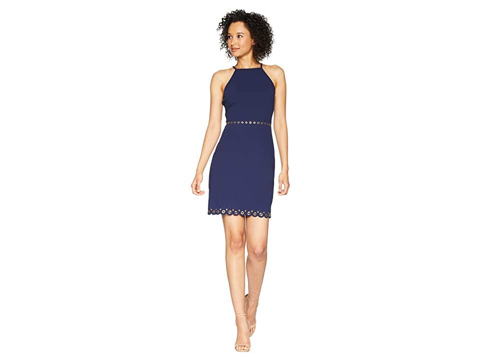 MICHAEL Michael Kors Scallop Hem Grommet Dress (True Navy) Women
