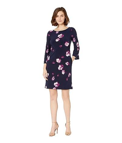 LAUREN Ralph Lauren B758 Ombra Floral Bazzy 3/4 Sleeve Day Dress (Lighthouse Navy/Purple/Multi) Women