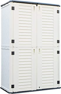 ADDOK Vertical Storage Shed Multi-Function, Outdoor Storage Cabinet Weather Resistance, HDEP Resin Storage Unit for Backya...