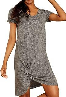 Blooming Jelly Women's Casual Short Sleeve T Shirt Dress V Neck Loose Plain Knot Dress