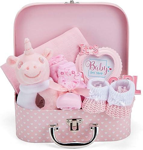 Coffret Naissance pour Bébé Fille avec Cadeaux pour Bébés Incluant Hochet bébé Cadre photo Linge de Mousseline Bavoir...