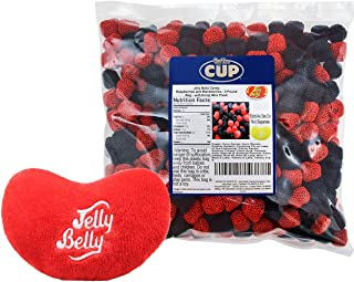By The Cup Gift Pack - Jelly Belly Candy Raspberries and Blackberries Jelly beans, 2 Pound Bag - with Jelly Belly Emoji Mini Plush