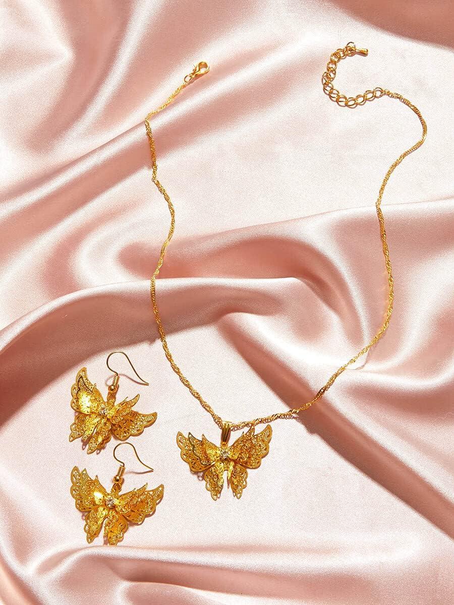 ZHAWE Women's Jewelry Set Long Beach Mall Series Butterfly Charm New sales Se 3pcs