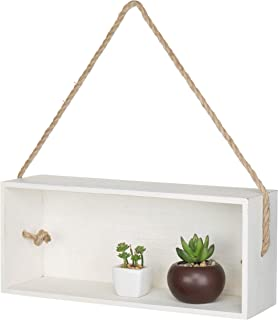 MyGift Vintage White Wood Rectangular Display Shadow Box with Hanging Rope