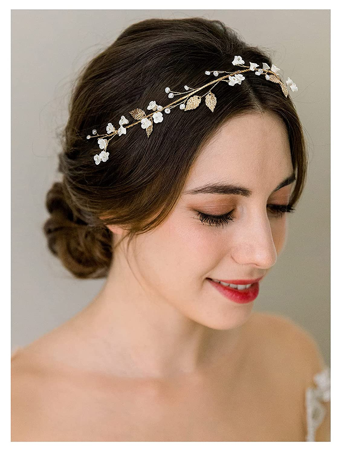 SWEETV Flower-Leaf Bridal Headpieces for Wedding Hair Band for Brides Gold Wedding Headband for Women Prom Party