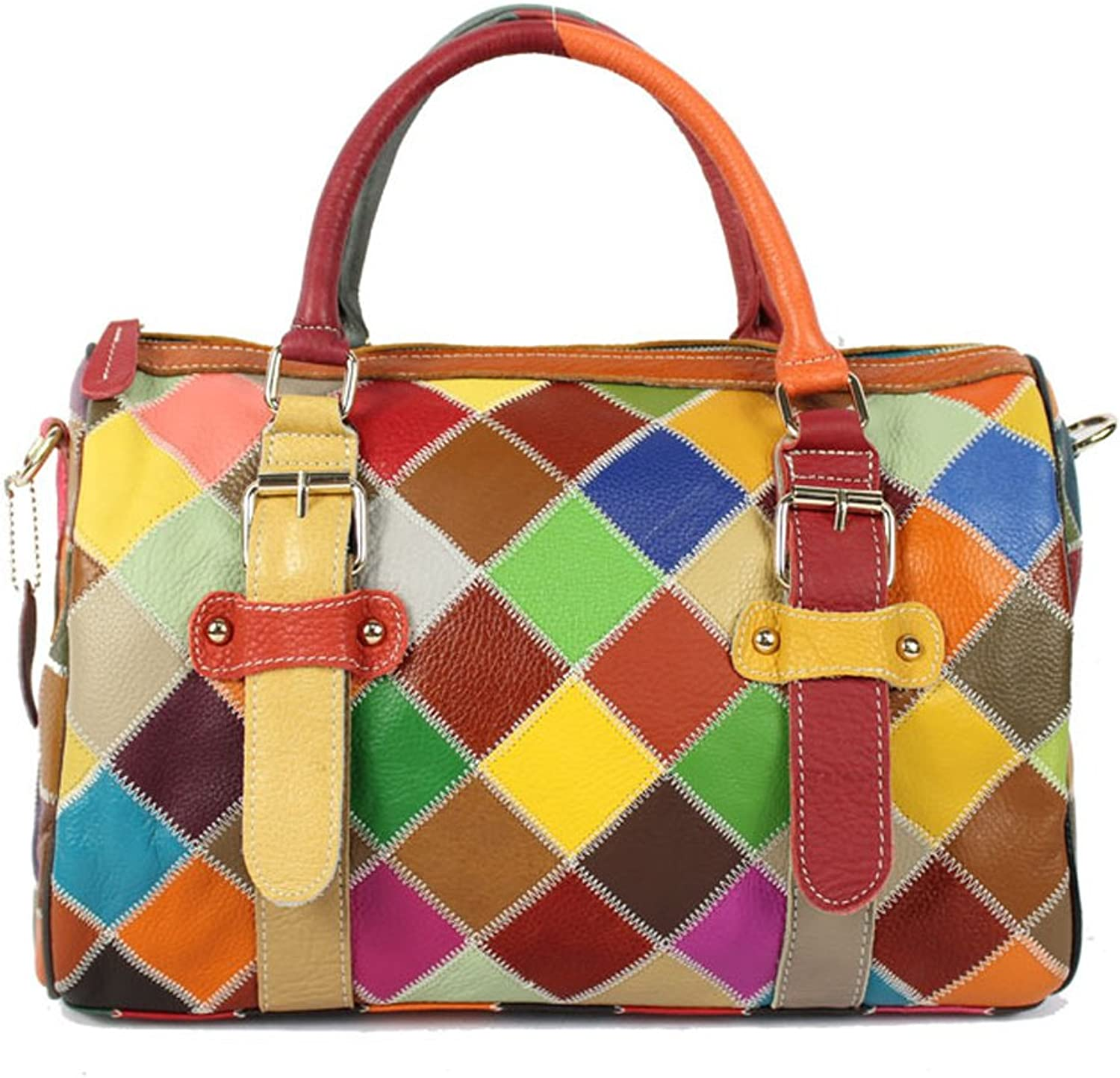 Genuine Cowhide Handbag Multi Plaid Spliced Women'S Shoulder Bag