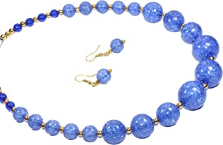 Frolics India Onyx Colored Stones Beads Handcrafted Single Line Necklace Mala Set with Earrings for Women and Girls