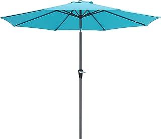 SONGMICS 9 Feet Patio Umbrella, Outdoor Table Umbrella, Sun Shade, Octagonal Polyester Canopy, with Push Button Tilt and Crank Mechanism - for Gardens, Balcony and Terrace (Turquoise) UGPU09JU