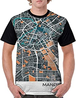 Mens Manchester City Map Metal Poster Novelty Casual Tshirt 3D Printed Crewneck Graphic Tees Unisex