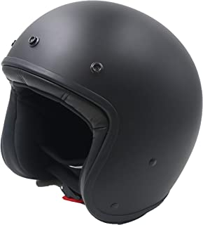 JRT 3/4 Fiberglass Open Face Motorcycle Helmet with Moped Removable and Washable Lining, DOT&ECE Approved (Matt Black,L)