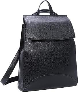 Heshe Womens PU Leather Backpack Casual Style Flap Backpacks Daypack for Ladies (PU-Black)