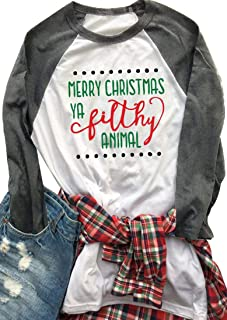 Aring Women's Merry Christmas Funny Letters Print T-Shirt Raglan Sleeve O-Neck Blouse Tees