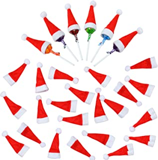 Elcoho 50 Picese Mini Christmas Hat Red Santa Hat DIY Lollipop Candy Cover Hat Christmas Decorations Crafts (50)