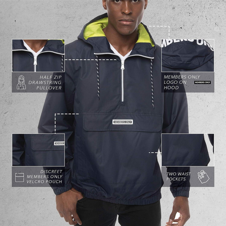 Members Only Men's Solid Popover Windbreaker Lightweight Hooded Jackets