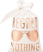 """10pcs White Wedding Party Favor Bags 5x7 Inch Rose Gold Foil """"Regret Nothing"""" Bridesmaid Gift Bags for Bridal Shower Bachelorette Hangover Kit Bags Recovery Kit Bags Cotton Muslin Drawstring Bag"""