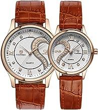 ロマンチック カップル メンズ レディース ウォッチ、人気 本革 ベルトハート型 デザイン ペア 腕時計 ゴールデン D-102