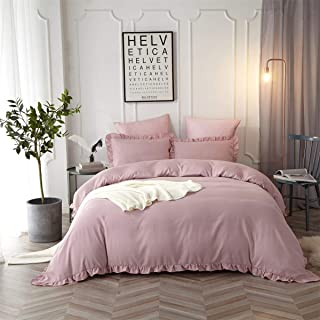 HYPREST Queen Duvet Cover Set Micorfiber Lightweight Soft Solid Color 3PC Bedding Set with Exquisite Flouncing Blush/Pink
