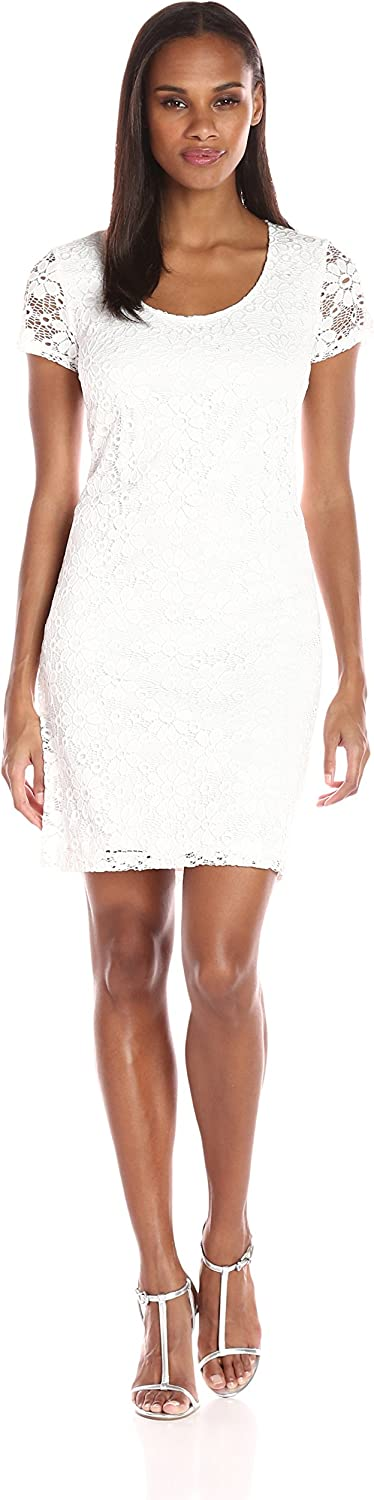 T I A N A B. Womens Daisy Lace Shift Dress with Short Sleeves Dress