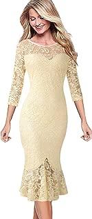 VFSHOW Womens Elegant Vintage Cocktail Party Mermaid Midi Mid-Calf Dress